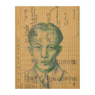 Radio Head #6 Green Portrait Drawing of a Man Wood Wall Art