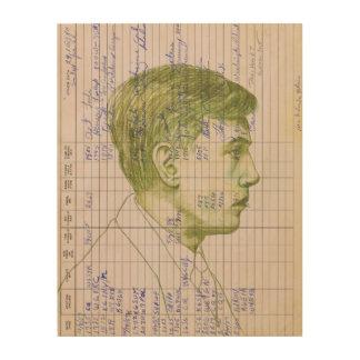 Radio Head #7 Green Portrait Drawing of a Man Wood Wall Decor
