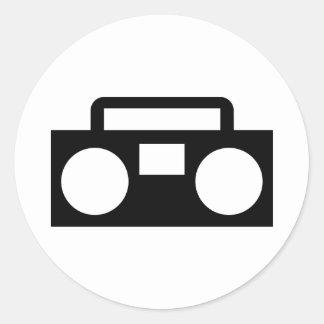 Radio Music Round Stickers
