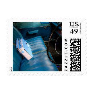 Radio on Blue Leather Car Seats Postage/Stamp Postage
