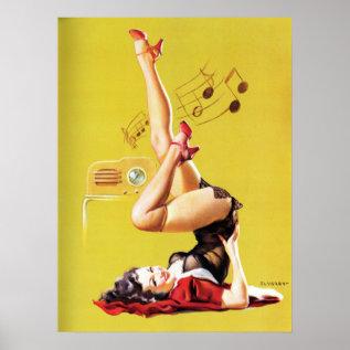 Radio Play Vintage Pin Up Poster at Zazzle