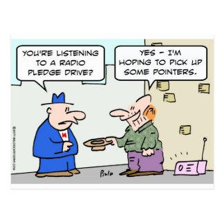 radio pledge drive pick pointers panhandler postcard