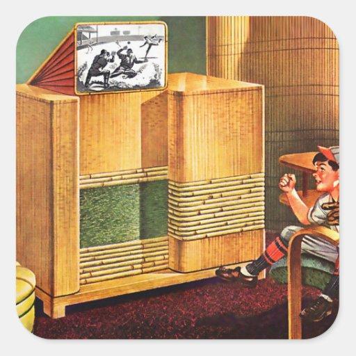 Radio retra de la televisión del kitsch TV del Pegatina Cuadrada