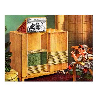 Radio retra de la televisión del kitsch TV del vin Tarjeta Postal