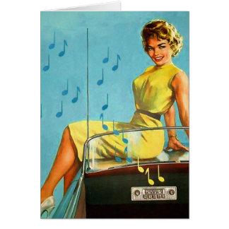 Radio retra del rock-and-roll del kitsch 50s del v tarjeta de felicitación