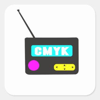 Radio retra portátil de CMYK Pegatina Cuadrada