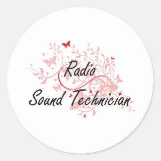 Radio Sound Technician Artistic Job Design with Bu Classic Round Sticker