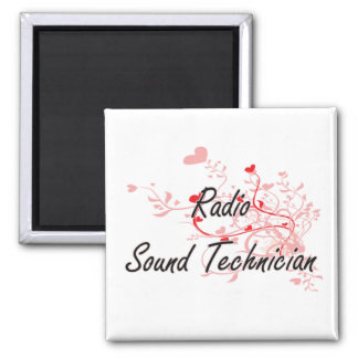 Radio Sound Technician Artistic Job Design with He 2 Inch Square Magnet