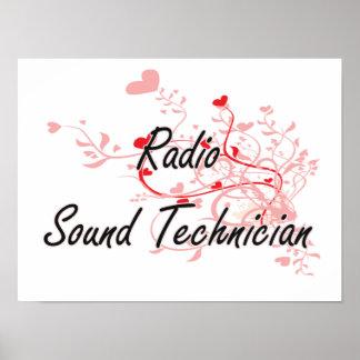 Radio Sound Technician Artistic Job Design with He Poster