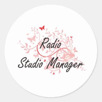 Radio Studio Manager Artistic Job Design with Butt Classic Round Sticker