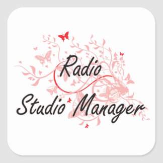 Radio Studio Manager Artistic Job Design with Butt Square Sticker