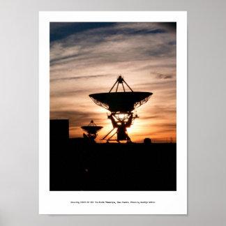 Radio Telescope Sunset Poster