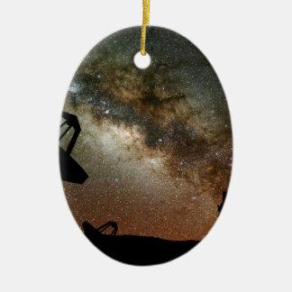 Radio Telescopes and Milky Way Ceramic Ornament