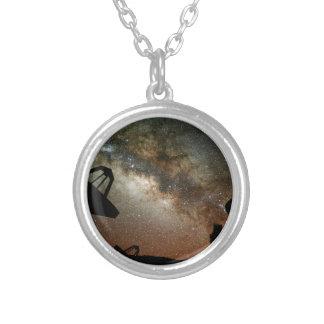 Radio Telescopes and Milky Way Round Pendant Necklace