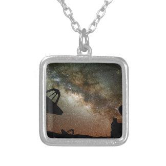 Radio Telescopes and Milky Way Square Pendant Necklace
