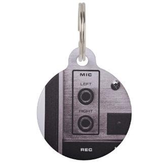Radio Themed, Black And White Retro Radio Recorder Pet Nametag