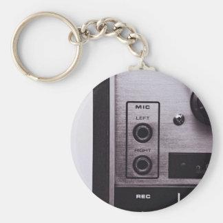 Radio Themed, Black And White Retro Radio Recorder Basic Round Button Keychain