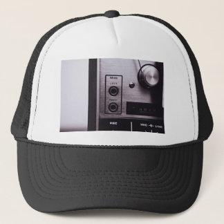 Radio Themed, Black And White Retro Radio Recorder Trucker Hat