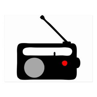 RADIO TRANSISTOR BLACK SYMBOL POSTCARD