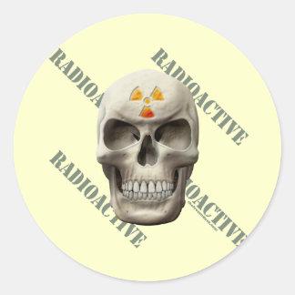 Radioactive Evil Skull Classic Round Sticker