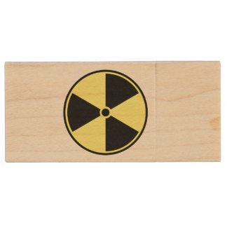 Radioactive Ionizing Symbol Wood Flash Drive