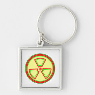 Radioactive Material Symbol Silver-Colored Square Keychain