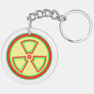 Radioactive Material Symbol Double-Sided Round Acrylic Keychain