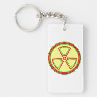 Radioactive Material Symbol Double-Sided Rectangular Acrylic Keychain