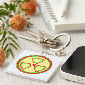 Radioactive Material Symbol Double-Sided Square Acrylic Keychain