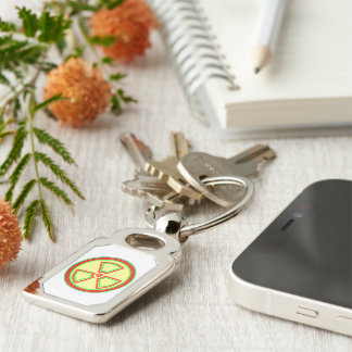 Radioactive Material Symbol Silver-Colored Rectangular Metal Keychain