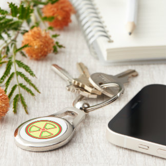 Radioactive Material Symbol Silver-Colored Oval Metal Keychain