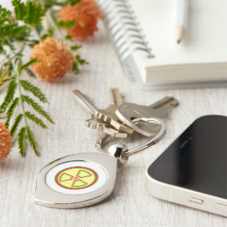 Radioactive Material Symbol Silver-Colored Swirl Metal Keychain