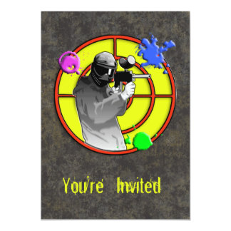 Radioactive Neon Paintball Shooter 5x7 Paper Invitation Card