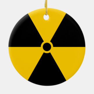 Radioactive Nuclear Reactor Yellow and Black Ceramic Ornament