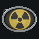 "Radioactive Oval Belt Buckle<br><div class=""desc"">Radioactive Warning Symbol</div>"