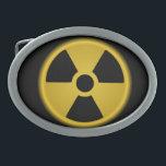 "Radioactive Oval Belt Buckle<br><div class=""desc"">Radioactive Warning Symbol</div>"