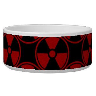Radioactive pattern on black pet water bowls