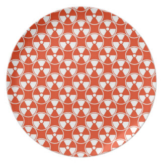 Radioactive pattern on red dinner plate