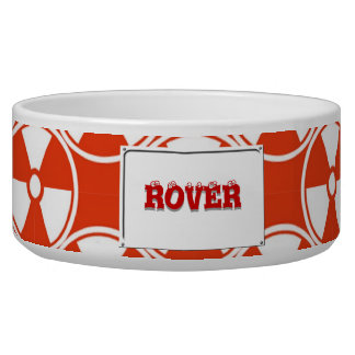 Radioactive pattern on red pet bowl