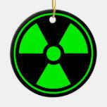 Radioactive Radiation Symbol green and black Christmas Tree Ornaments