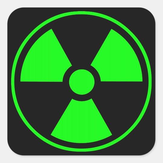 Radioactive Radiation Symbol Green And Black Square Sticker Zazzle