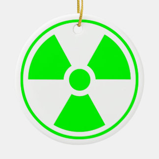 Radioactive Radiation Symbol green and white Ceramic Ornament
