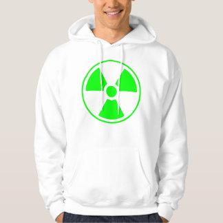 Radioactive Radiation Symbol green and white Hoodie