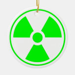 Radioactive Radiation Symbol green and white Christmas Ornament