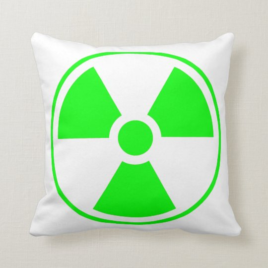 Radioactive Radiation Symbol green and white Throw Pillow