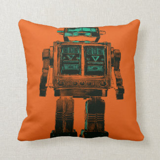 Radioactive Robot Rebellion Throw Pillow