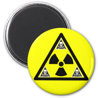 Radioactive Scull & Crossbones 2 Inch Round Magnet