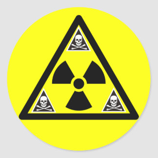 Radioactive Scull & Crossbones Classic Round Sticker