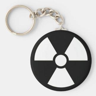 Radioactive Symbol B&W Keychain