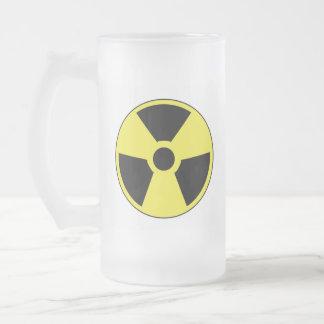 Radioactive Symbol Frosted Glass Beer Mug